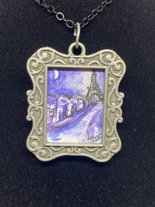 """Ahhh Paris"" Mini Painting Necklace"