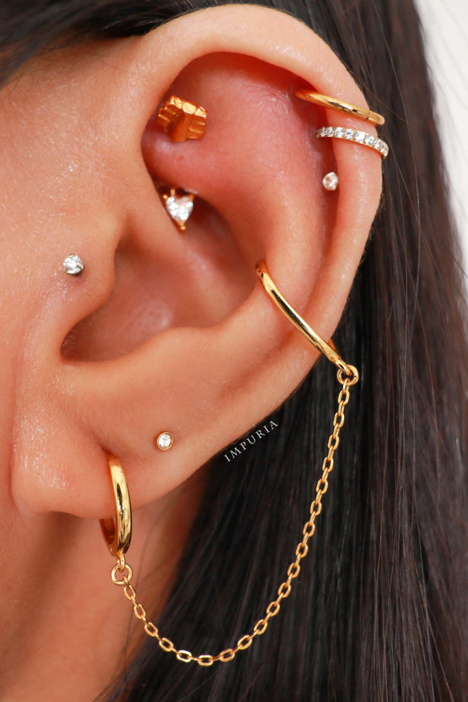 Cute Ear Piercing Combinations Earrings Rings Hoops Studs for Cartilage Helix Rook Daith Conch Tragus - www.Impuria.com