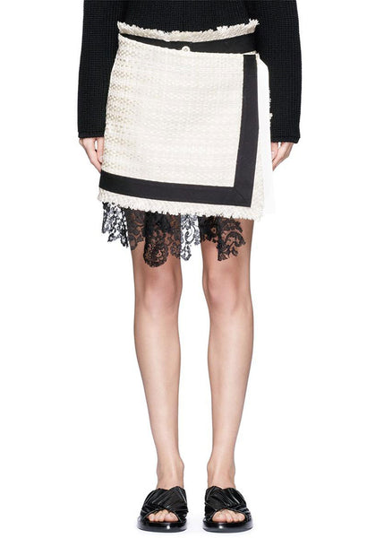 SACAI Summer Tweed Mock Wrap Skort (Black/White)