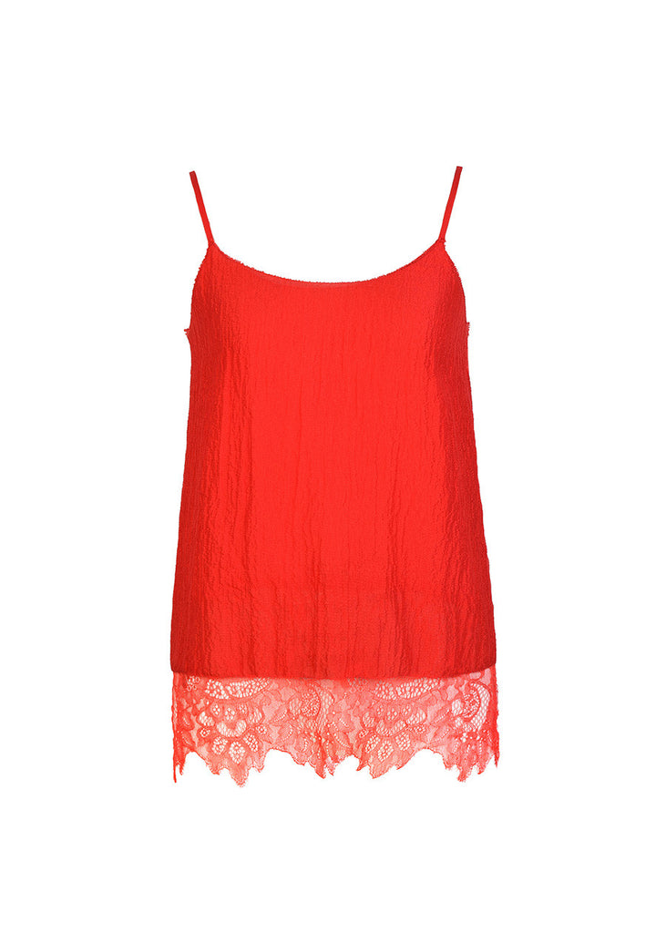 Ms MIN Silk Camisole With Lace Detail (Red)