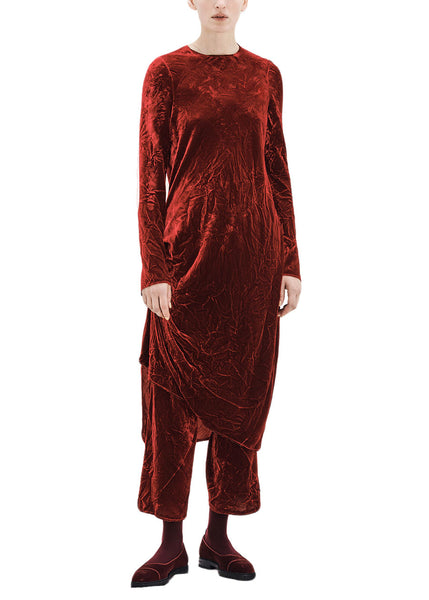 Ms MIN Velvet Asymmetrical Straight Dress (Dark Red)