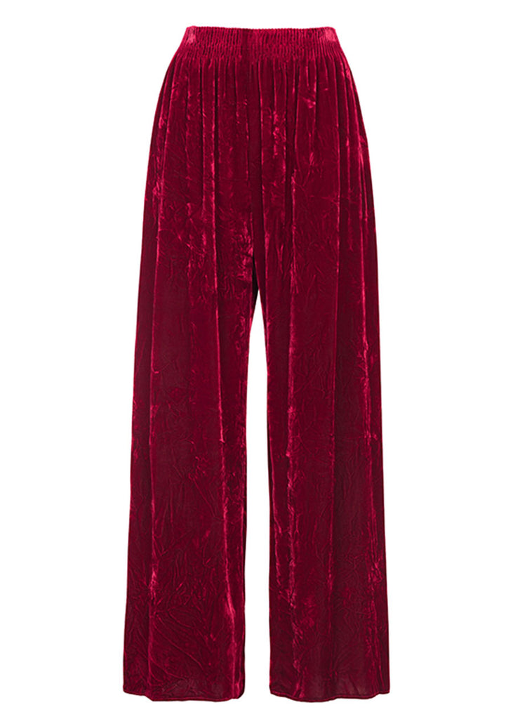 Ms MIN Crushed Velvet Wide Leg Pants (Dark Red)