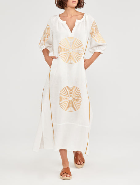 GREEK ARCHAIC KORI <br/> Long Linen Dress - White/Gold <br/> PRE-ORDER