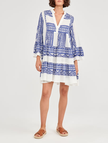GREEK ARCHAIC KORI <br/> Short Cotton Dress - White/Blue