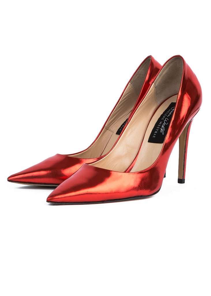VERONICA WEBB X HELENE WESTBYE Dare Me Pump (Red Mirror)