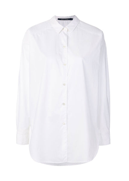 SOFIE D'HOORE Bethany Quilted Shoulder Classic Shirt (White)