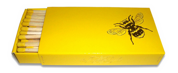 The Joy of Light Bee on Yellow Foil Embossed Matches (9 inches)