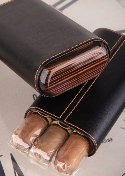 Black Leather & Ebony Wood Cigar Holder Three Cigar