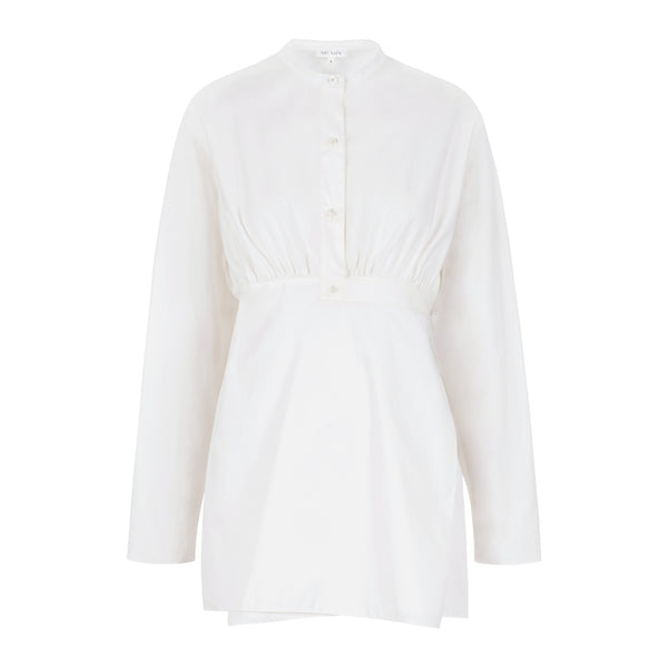 Ms Min - Crew Neck Cotton Blouse with Waist Band (White)