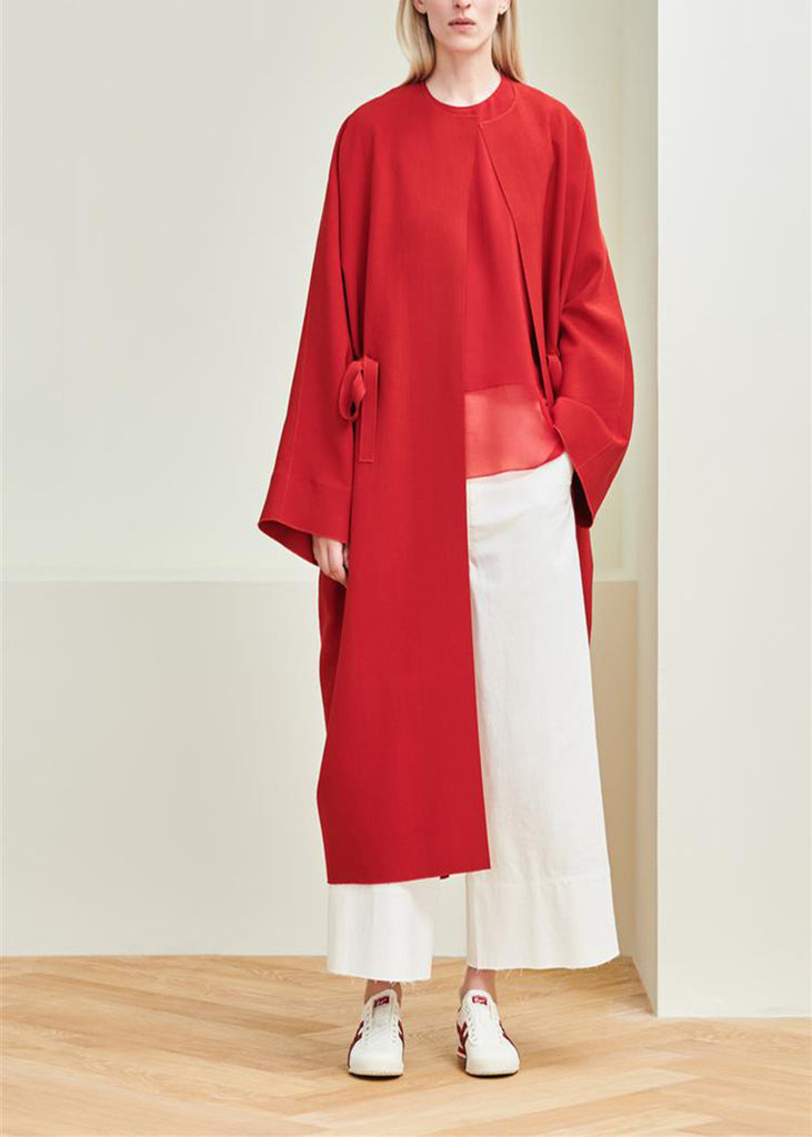 MS MIN Crew Neck Drawstring Oversized Coat (Red)