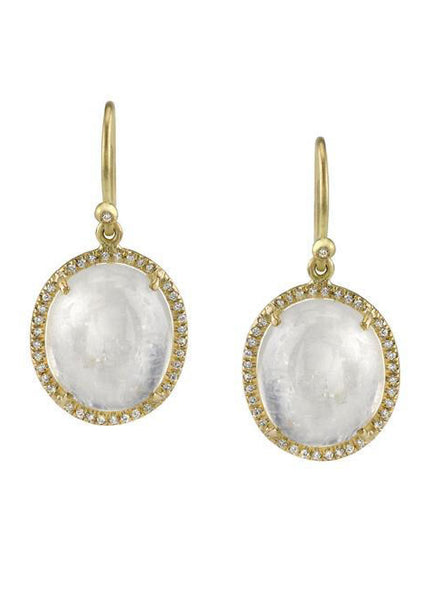 IRENE NEUWIRTH 18K Oval Rainbow Moonstone Diamond Pave Earrings*