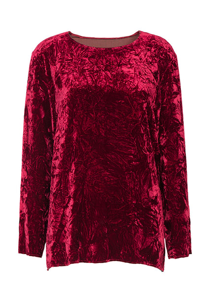 Ms MIN Velvet Loose Top (Dark Red)