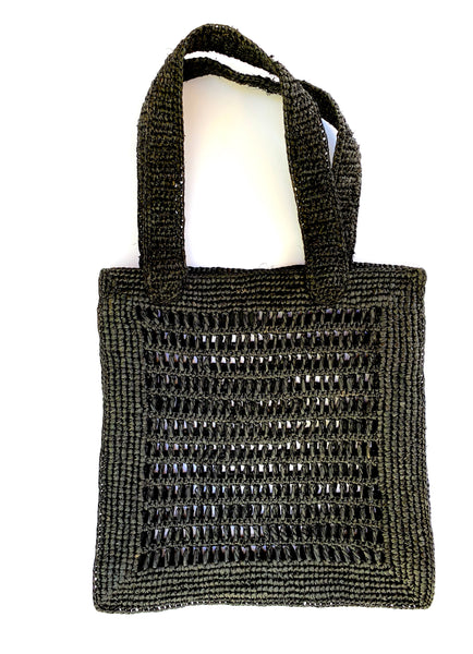 MAISON N.H PARIS - ANNA RAFFIA TOTE BAG (Black)