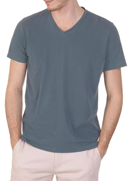 MAJESTIC Short Sleeve V-neck (Marine Hand Dyed)