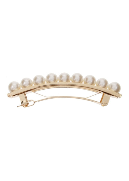 Pearl and Metal Barrette (Gold)
