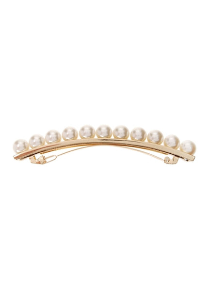 Pearl and Metal Long and Skinny Barrette (Gold)