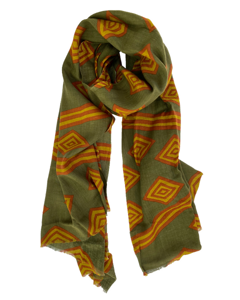 LOVAT & GREEN - Olive/Orange Scarf