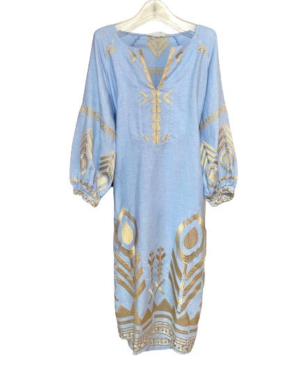 GREEK ARCHAIC KORI Midi Linen Dress Light Blue/Gold