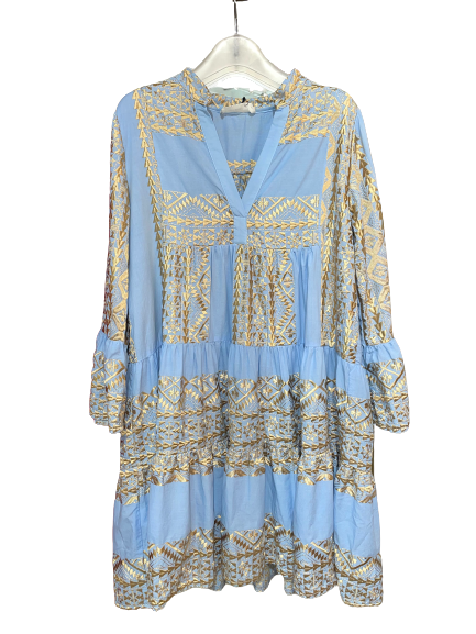 GREEK ARCHAIC KORI Short Cotton Dress Light Blue/Gold