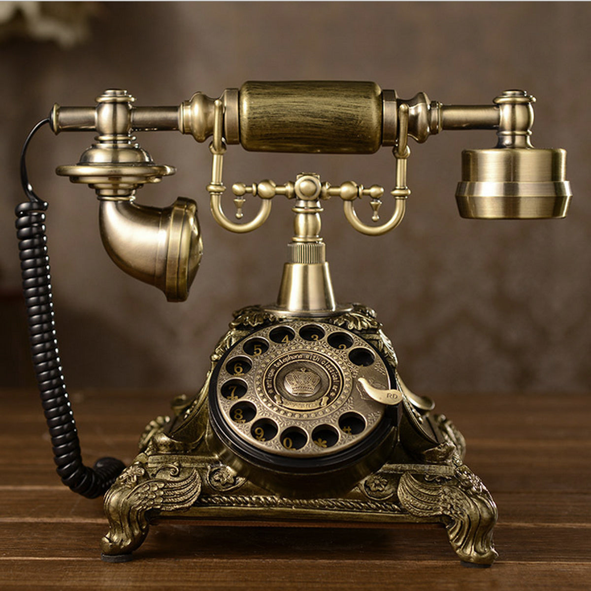 Retro Vintage Push Button Ceramic Antique Telephone Dial Desk Phone Home Decor