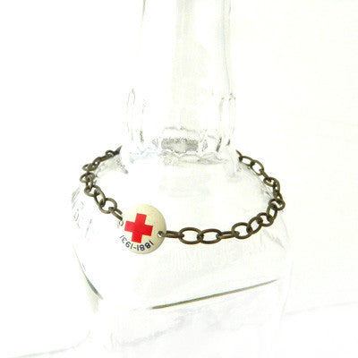 Antique Red Cross Badge Bracelet
