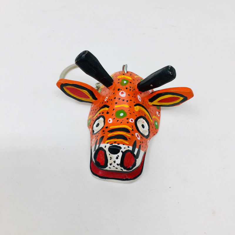 Wood Carved and Painted Mask Key Chains (ALL)