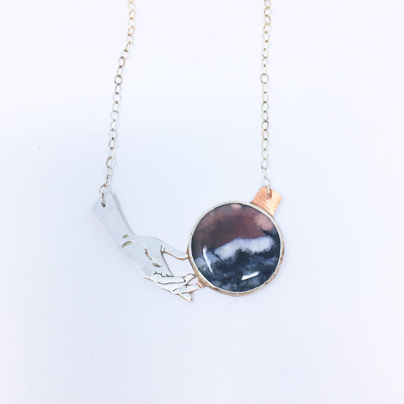 Hand & Crystal Moon Necklace