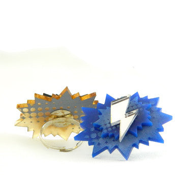 Red and Blue Thderbolt Adjustable RIng