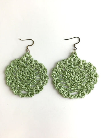 Light Green Crochet Earrings