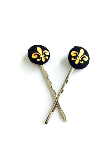 Fleur De Lis Button Hair Pins