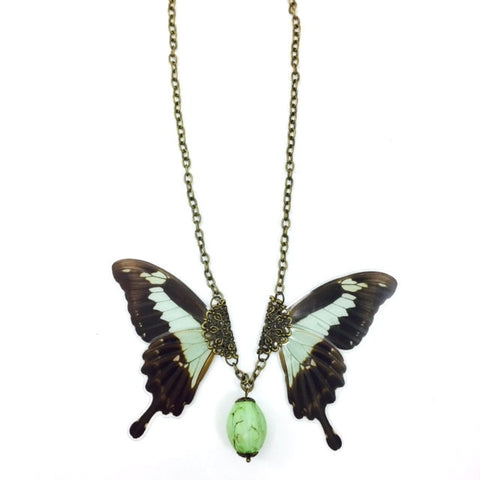 Mint Butterfly Wing Necklace