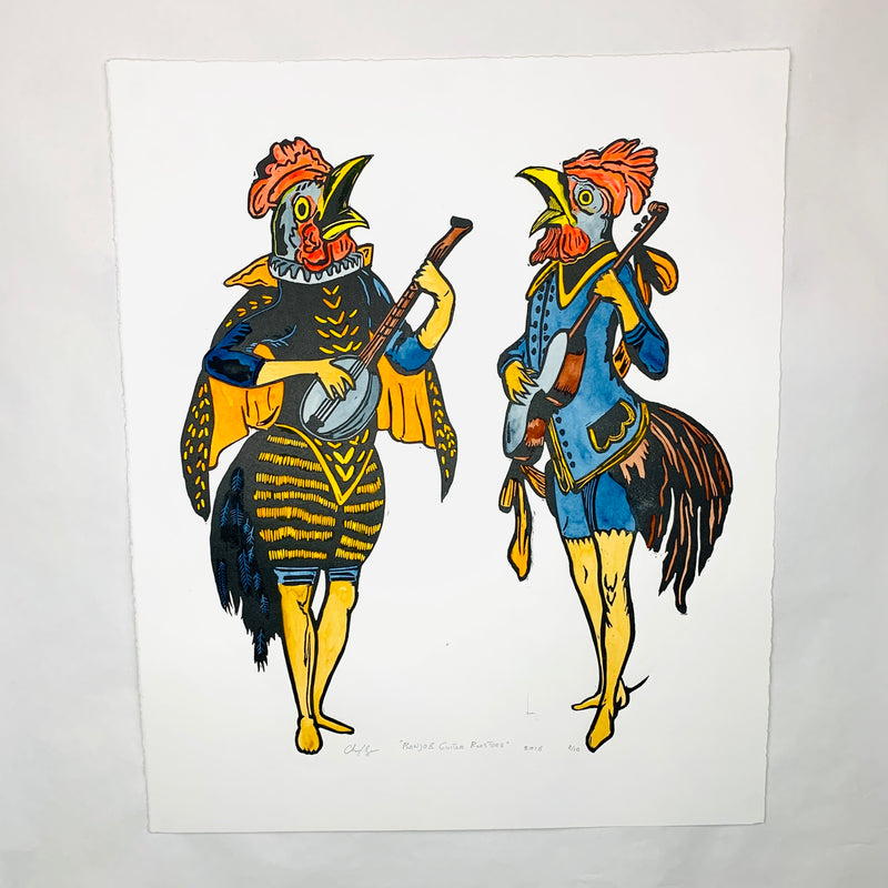 Banjo and Guitar Roosters Print