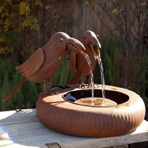 Folk Art Crows Fountain