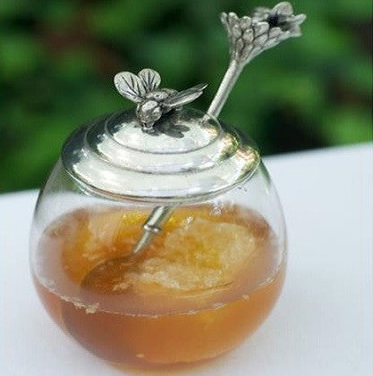 Vagabond House Bee Glass Honey Pot with Spoon