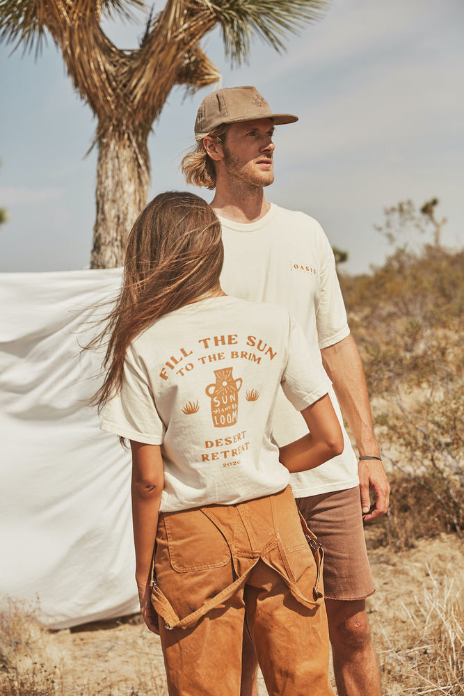 Sun and Loom - Fill the Sun Tee - Bone - Female and male model