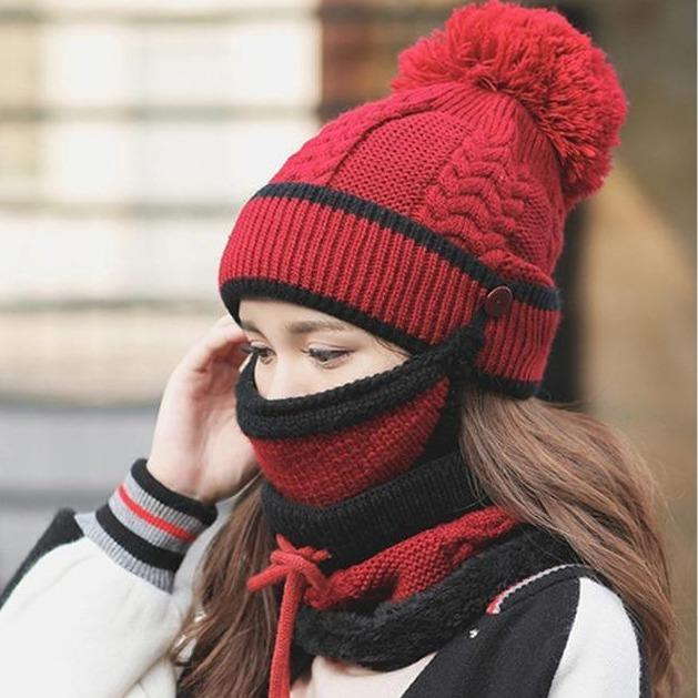 3 in 1 Women's Warm Winter Hat, Scarf, and Mask Set
