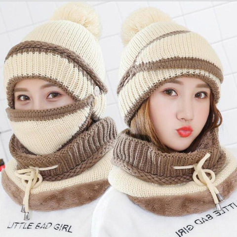 3 in 1 Women's Warm Winter Hat, Scarf, and Mask Set Flat needle Beige INTL