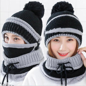 3 in 1 Women's Warm Winter Hat, Scarf, and Mask Set Flat needle Black INTL