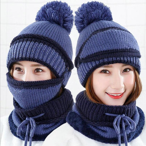 3 in 1 Women's Warm Winter Hat, Scarf, and Mask Set Flat needle Blue INTL