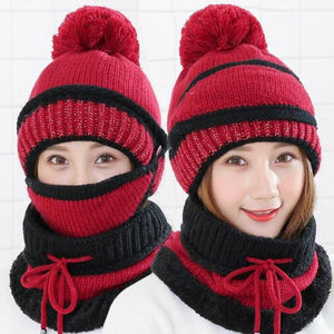 3 in 1 Women's Warm Winter Hat, Scarf, and Mask Set Flat needle Burgundy INTL