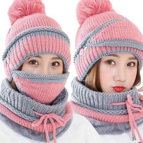3 in 1 Women's Warm Winter Hat, Scarf, and Mask Set Flat needle Pink INTL