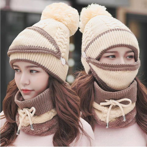 3 in 1 Women's Warm Winter Hat, Scarf, and Mask Set Twist Beige INTL