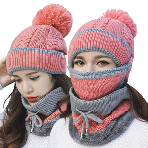 3 in 1 Women's Warm Winter Hat, Scarf, and Mask Set Twist Pink INTL