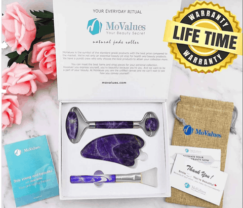 Image of Best 3-in-1 Amethyst Roller and Gua Sha Beauty Kit - Ever!