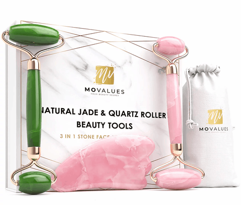 Best 3-in-1 Natural Rose Quartz & Aventurine (Jade) Rollers and Gua Sha Beauty Kit - Ever!