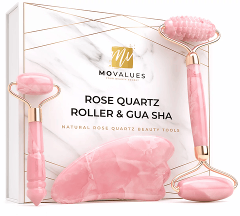 Best Ever 4-in-1 Natural Rose Quartz Roller and Gua Sha Beauty Kit - Ever!