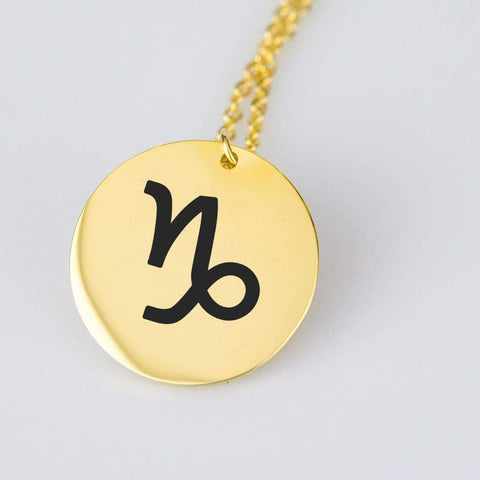 Capricorn Astrological Star Sign Pendant Charm and Necklace pendant Gold Plated Stainless Steel