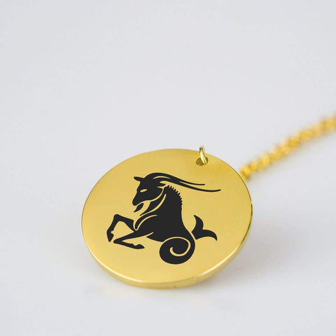 Capricorn Horoscope Stainless Steel/Gold Pendant and Necklace pendant
