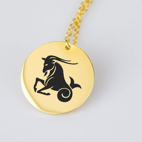 Capricorn Horoscope Stainless Steel/Gold Pendant and Necklace pendant Gold Plated Stainless Steel