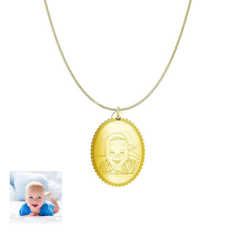 Image of Capture Your Baby Forever on Oval Personalized Jewelry Pendant pendant Gold Plated Sterling Silver 1in Yes